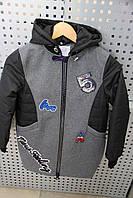 Пальто демисезонное для девочки LUSIMING 9822 ЧЕРНО-СЕРОЕ