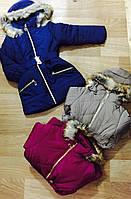 Плотная удлиненная куртка для девочек на меховой подкладке оптом, Nice Wear, 6-14 pp., арт. G-12