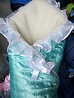 Детский зимний меховый конверт одеяло на овчине для новорожденных