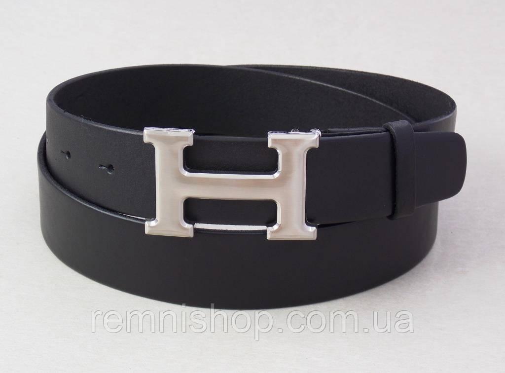 Кожаный черный ремень Hermes унисекс