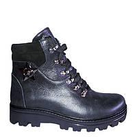 Женские зимние ботинки на шнурках кожаные