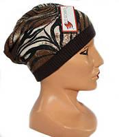 Красивая демисезонная вязаная шапка женская.