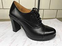 Кожаные женские туфли на высоком каблуке 37 р.