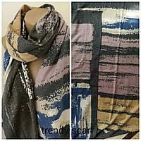 Женский Кашемировый шарф-палантин. Переходы Темно серый, сиреневый синий розовый коричневый.190\70