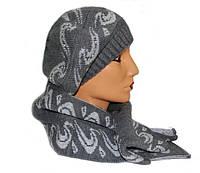 Уютный стильный комплект шапка женская с шарфом