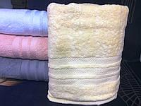 Махровое однотонное полотенце для сауны ЖЕЛТОЕ
