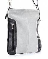 Светло серая женская сумка из натуральной замши с черными вставками из натуральной кожи, Италия