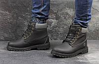 Зимние мужские ботинки Timberland (черные), ТОП-реплика, фото 1
