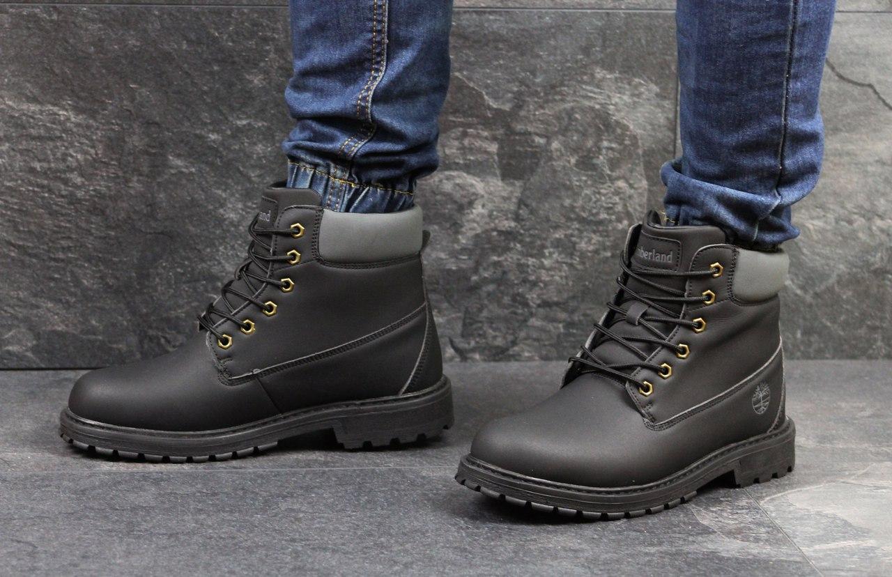 Зимние мужские ботинки Timberland (черные), ТОП-реплика