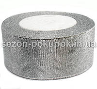 Лента парча 4 см  бунт - 23 метра, цвет серебро