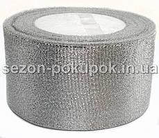 Лента парча 5 см  бунт - 23 метра, цвет серебро