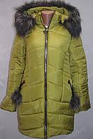 Теплая зимняя женская куртка на замке с капюшоном и меховым воротником гороховая
