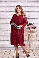 Бордовый нарядный костюм большие размеры 0613