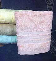 Махровое однотонное полотенце для сауны РОЗОВАЯ