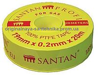 Фум лента SANTAN жёлтая для газа 19 мм*0,2 мм*20 м