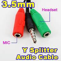 Переходник 3.5 мм 4 pin (папа) - 23.5 мм 3-pin (мама) наушники + микрофон подключение к смартфону петличка mic