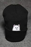 Стильная шапка в 3 цветах черный, серый, белый, зимняя шапка