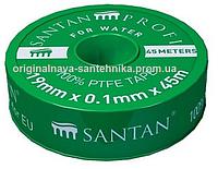 Фум лента SANTAN зелёная для воды 19 мм*0,1 мм*45 м