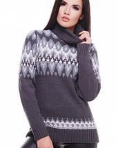 Женский вязаный свитер под горло с узором (Kety fup), фото 2