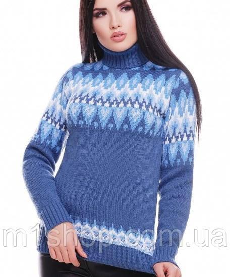 Женский вязаный свитер под горло с узором (Kety fup)