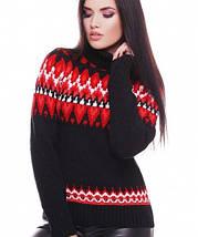 Женский вязаный свитер под горло с узором (Kety fup), фото 3