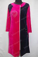 Велюровый женский халат на замке, батал розовый