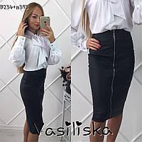 Модная черная кожаная юбка карандаш ан-10671-1