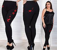 Стильные женские джинсы декорированные  вышивкой батал