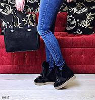 Ботинки зимние на скрытой танкетке 5 см, натуральная замша, мех натуральный кролик. Цвет черный
