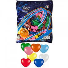 Повітряні кулі 16 см пастель з малюнком асорті серце Gemar 57801