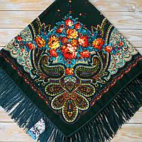 Женский платок с бахрамой (110х110см, 80%-шерсть, зелёный)