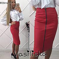 Модная красная кожаная юбка карандаш ан-10671-2