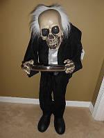 3 Foot Standing Bobble Head Skeleton Butler Halloween Led Eyes Light Up Talks Качающий головой скелет говорит