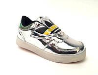 Кроссовки-слипоны женские/подростковые со светящейся LED подошвой экокожа серебрянные KF0478