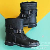 Кожаные черные сапожки на девочку детская зимняя обувь Украина р.32,33,34,36,37