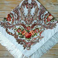 Белый женский платок с цветами (130х130см, белый, 80%-шерсть)