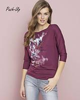 Классическая трикотажная блузка бордового цвета Zaps Neo
