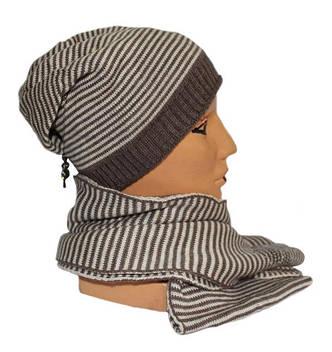 Мягкий теплый кашемировый комплект (шапка+шарф), фото 2