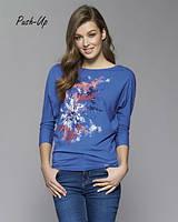Классическая трикотажная блузка синего цвета Zaps Neo