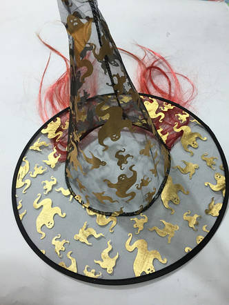 Шляпа ведьмы с волосами 37см (в ассортименте), фото 2