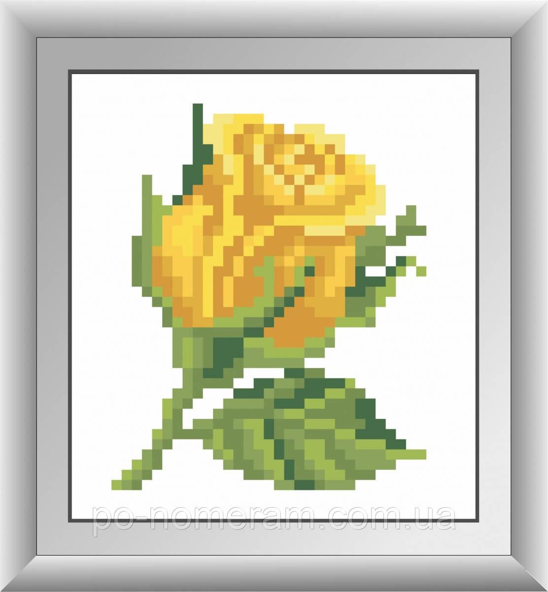 Алмазная техника Dream Art Желтая розочка (без коробки) (DA-30433M) 10 х 11 см (Без подрамника)