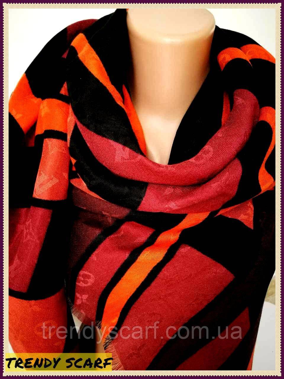 Женский Платок Louis Vuitton Луи Виттон бордовый оранжевый черный цветной полоска monogram реплика 140/150