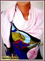 Платок Louis Vuitton бренд Луи Виттон нежно розовый синий зеленый цветной monogram реплика 140/150