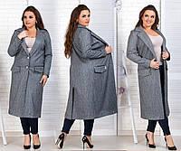 Шерстяное пальто женское батал