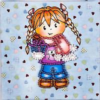Набор для вышивки бисером магнита Волшебная страна Девочка (FLA105) 9 х 9 см