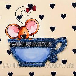 Набор для вышивки бисером магнита Волшебная страна Мышка в чашке (FLA106) 9 х 9 см