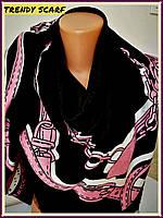 Платок Louis Vuitton бренд Луи Виттон черный розовый цепи цветной monogram реплика шерсть шелк 140/150