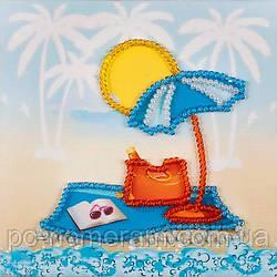 Магнит вышитый бисером Волшебная страна Пляж (FLA129) 9 х 9 см