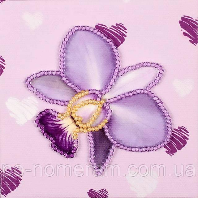 Вышивка бисером на холсте магнита Волшебная страна Орхидея (FLA132) 9 х 9 см
