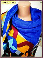 Женский Платок Louis Vuitton Луи Виттон желтый синий черный цветной monogram реплика шерсть шелк 140/150